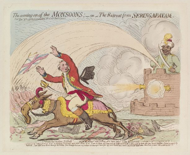NPG D13008,'The coming-on of the monsoons; - or - the retreat from Seringapatam',by; published by James Gillray; Hannah Humphrey